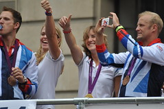 Thumbs up for the Eton Dorney Gamesmakers (and their banner)