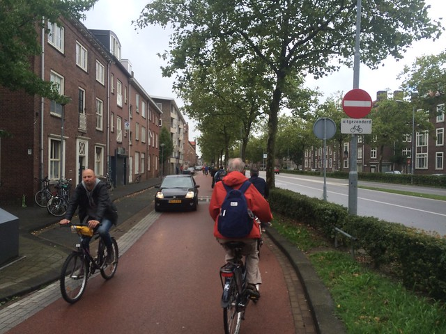 Bicycle street in 's-Hertogenbosch Den Bosch, the Netherlands