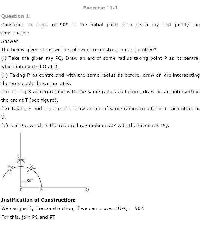 NCERT Solutions For Class 9th Maths Solutions Chapter 11 Constructions PDF Download 2018-19