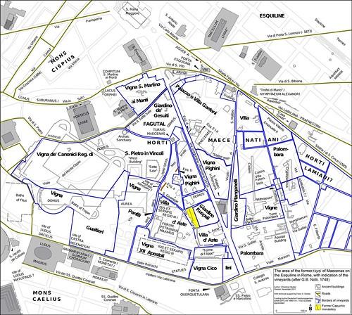 ROMA ARCHEOLOGIA: Mappa 10: L'area della ex Horti di Mecenate sul colle Esquilino a Roma, con l'indicazione dei vigneti (le linee blu scuro), come disegnato nel Grande Mappa di Roma di Giambattista (GB) Nolli (1748); di Prof. Chrystina Hauber (2012). by Martin G. Conde