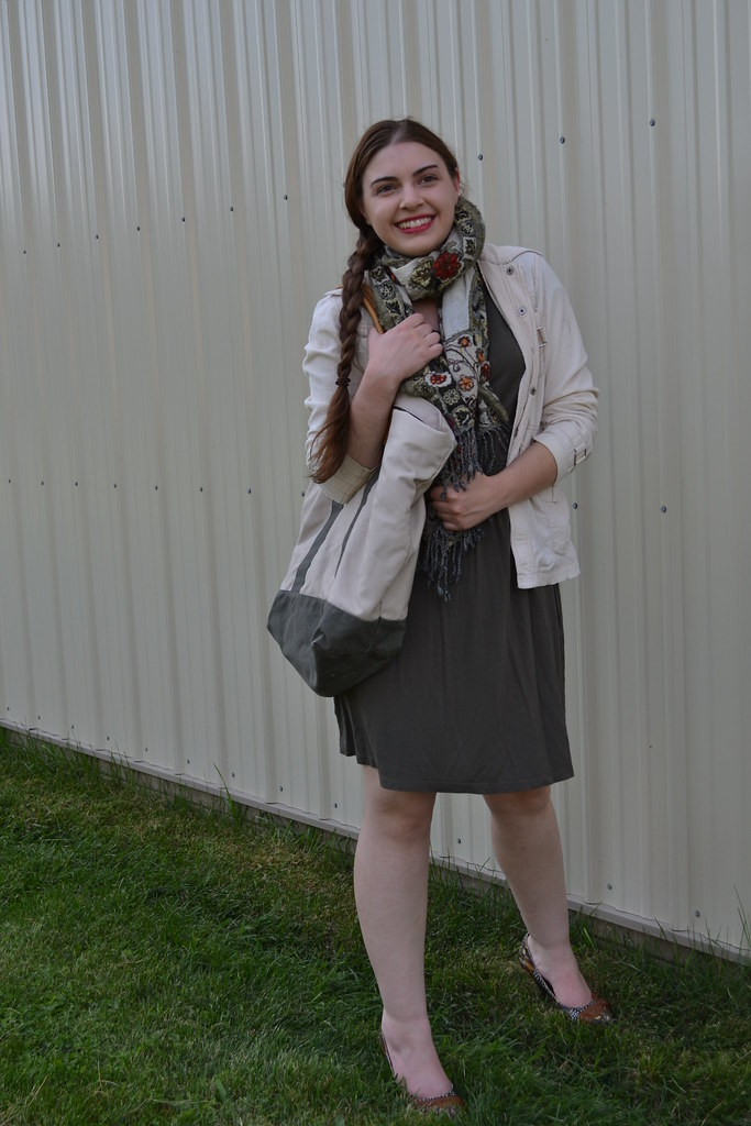 Natalie of Destination Thrift rocks a layered look for fall. Ann Taylor Loft olive green dress, embroidered scarf, khaki corduroy jacket, LL Bean tote, and Not Rated brown heels - all from thrift stores!