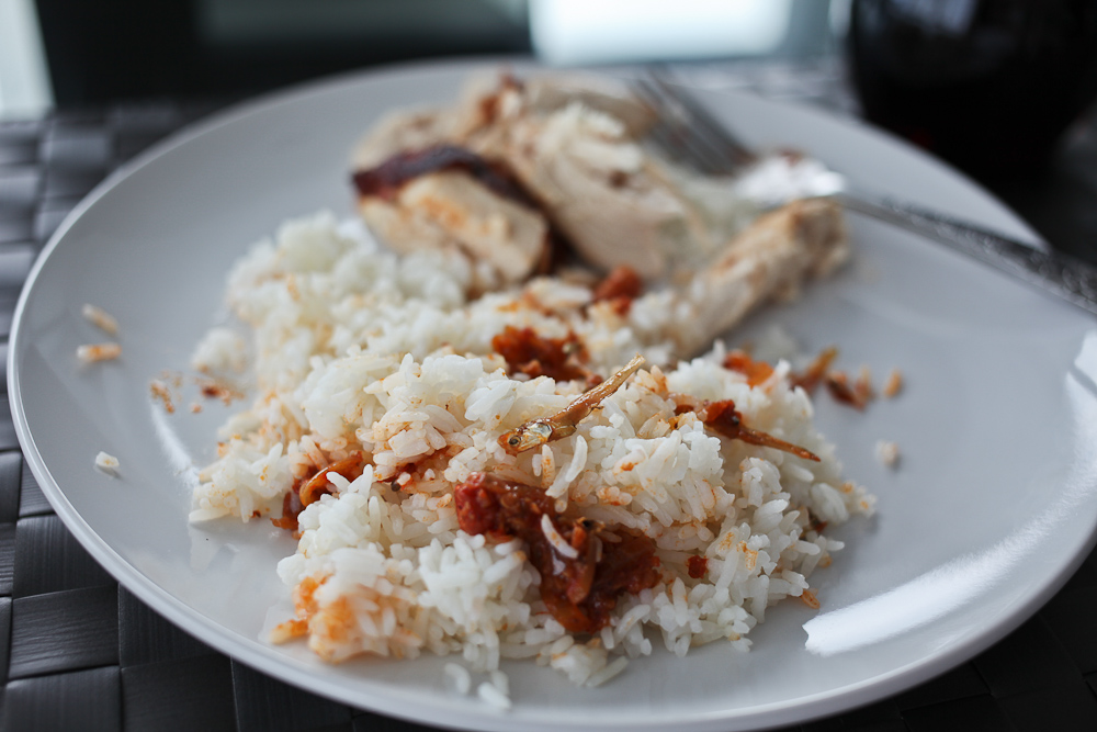Sardines and Chicken Rice
