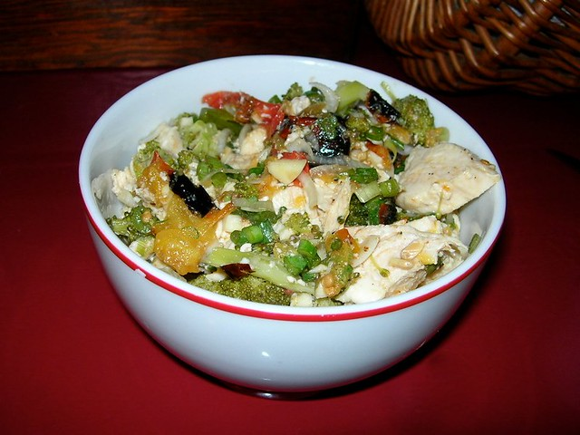 Charred Tomato, Broccoli and Chicken Salad