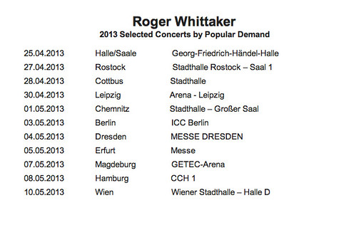 Roger Whittaker 2013 tour