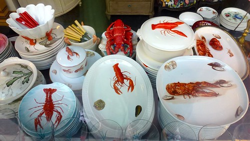 Lobster dishes at an antique shop