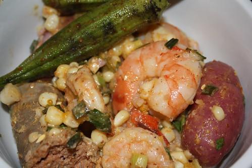 Shrimp Boil Potato Salad + Grilled Okra
