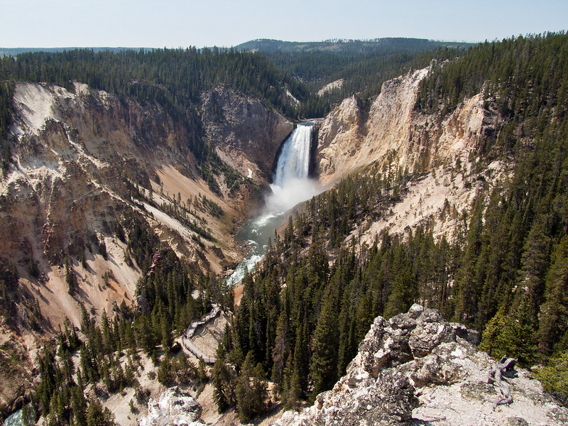 Lower Falls of Yellowstone River, Lookout Point, with Red Rock Trail below