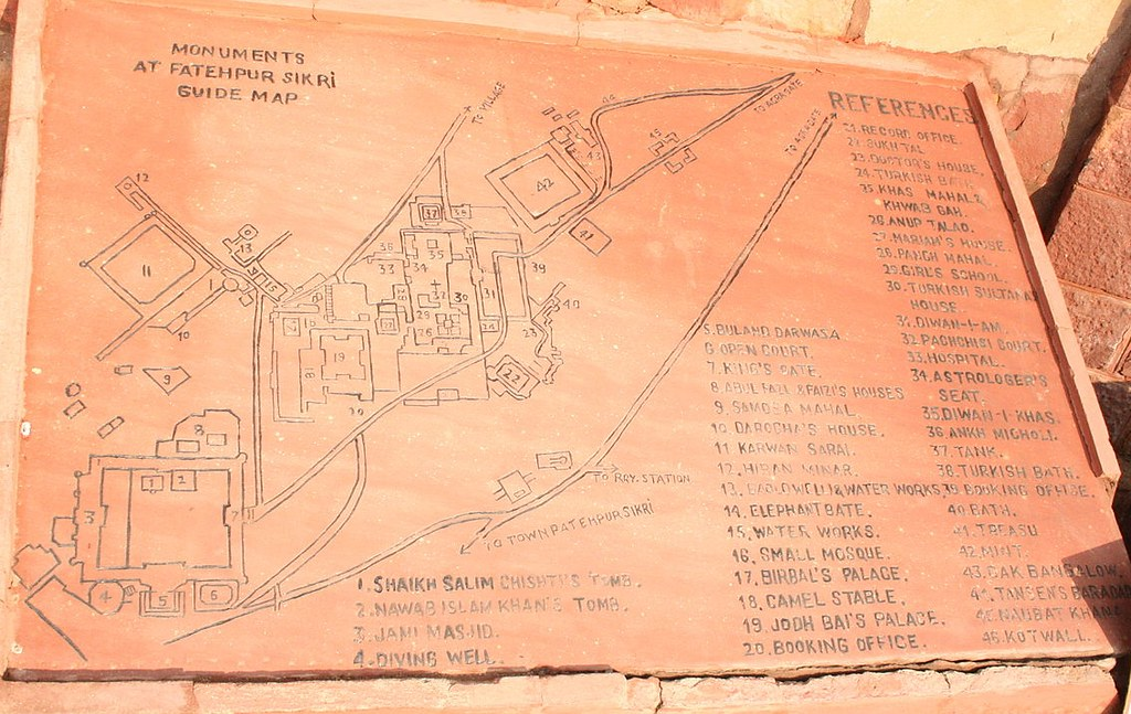 Map of Fatehpur Fatehpur Sikri engraved on the stone laid in the complex