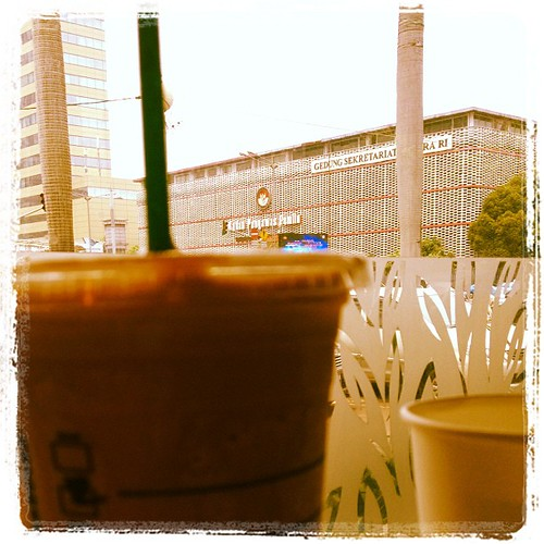 Outside my #mochafrappuccinno by #starbucksnomad
