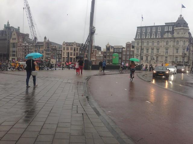 Dutch cycling in the rain Amsterdam