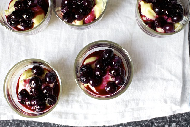 vanilla custards + roasted blueberries