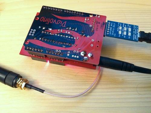 Diavolino hosting a GSM/GPRS shield