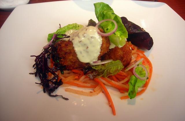 Fish croquettes, radish kimchi, baby lettuce, seaweed