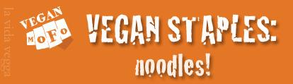 "White MoFo fist logo on an orange background with the text ""Vegan Staples: Noodles!"""