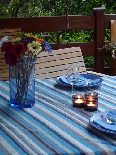 Tablescape in September blue