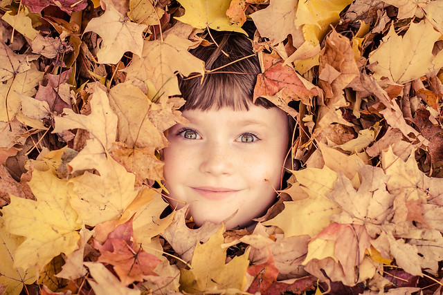 Anna in the leaves