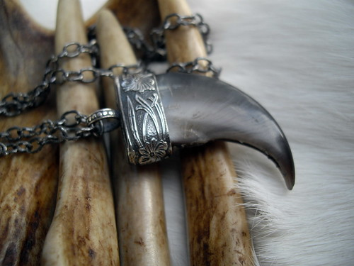 genuine bear claw capped in sterling silver