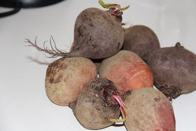 Feta stuffed beets - raw beets
