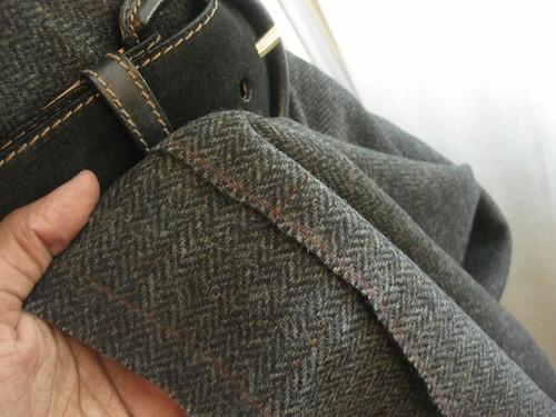 Plaid Wool~ Charcoal Grey and Burgundy
