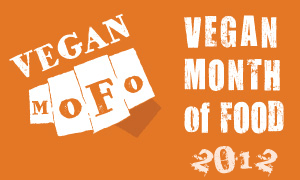Orange rectangle with Vegan Month of Food: 2012 text.