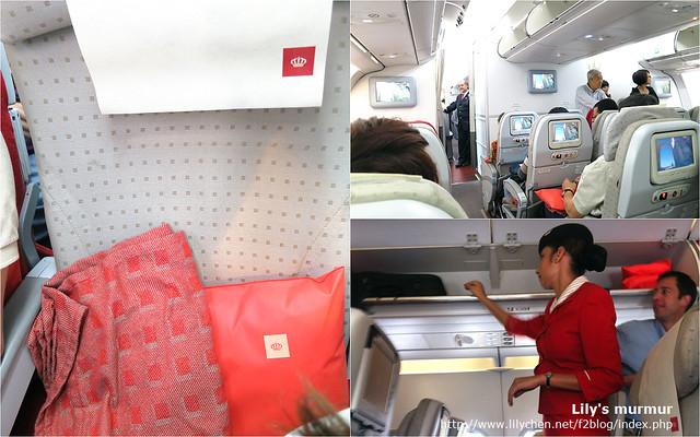 左邊是經濟艙座位,附有枕頭跟毛毯一套。右上是機艙配置,右下是美麗的空姐。