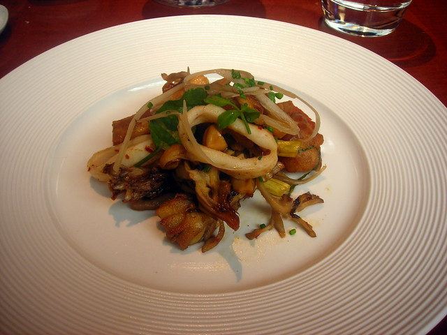 Wild mushroom and calamari salad