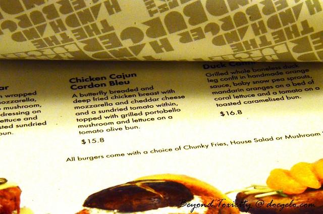 menu the hand burger