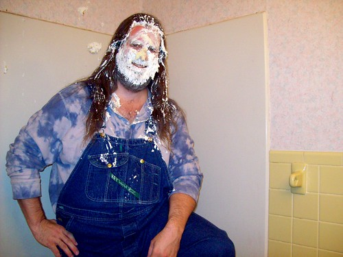 Pie in the face: My oh my, the tie-dyed guy is pied