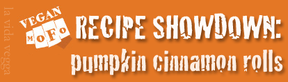 "Orange rectangle with the white MoFo fist logo. Text to the right says: ""Recipe Showdown: pumpkin cinnamon rolls."""