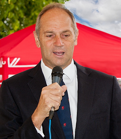 Sir Steve Redgrave giving a speech at a regatta