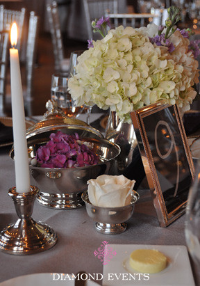 Hydrangea roses, silver containers vases primland diamond events floral design