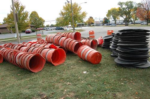 Orange barrel disassembled & waiting pick up