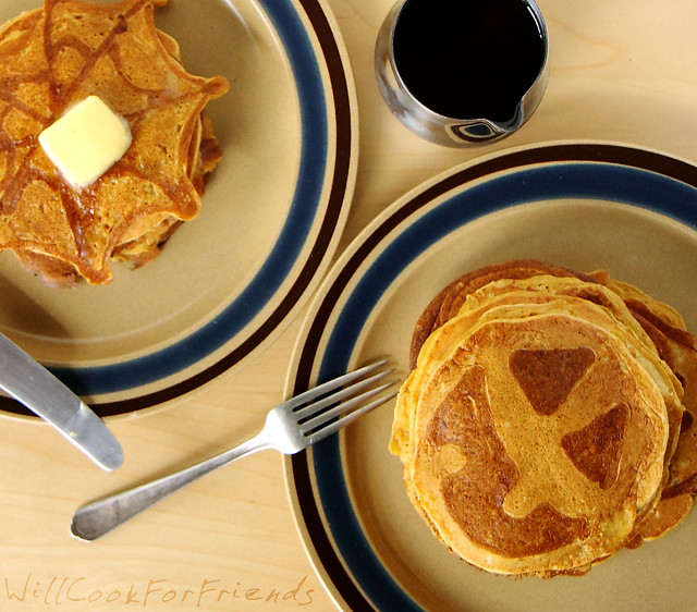 Halloween special Pumpkin Pie Pancakes. Good for non Halloween days as well!