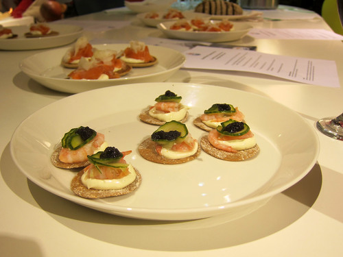 Sweet Norwegian Prawns with Wild Dill Pollen Mayonnaise, Lumpfish Roe, Pickled Cucumber on Sourdough Crisp Bread