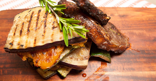 Lamp Chops on a Vegetable Stack