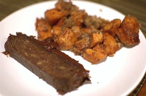 Paleo chocolate/banana cake, slow-cooked apple crumble