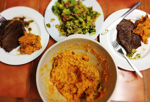 Value steak, brussel sprouts with bacon lardons, mashed sweet potato with English mustard