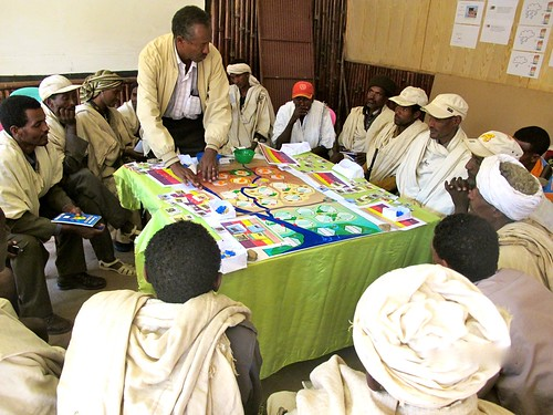 Aberra Adie (ILRI) introduces the WAT-A-GAME to farmers