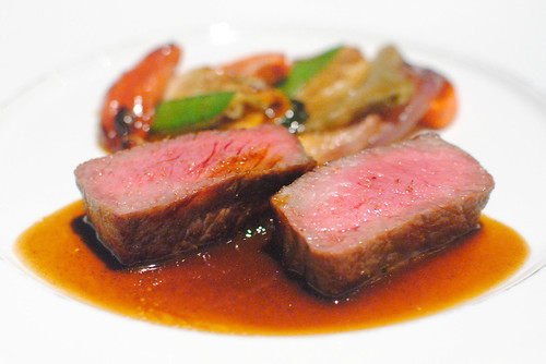 seared kyushu beef, oven-baked vegetables, bordelaise reduction