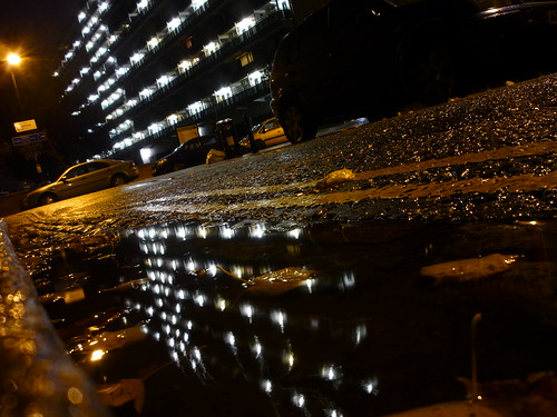 granard house reflected in puddle, bentham road e9, at night, 2012-10-29, 01-12-17