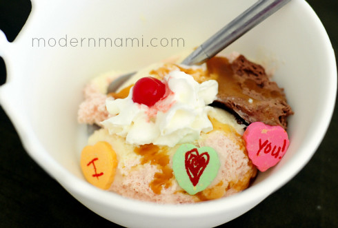 Valentine's Day Ice Cream Sundae with Create Your Own Conversation Hearts