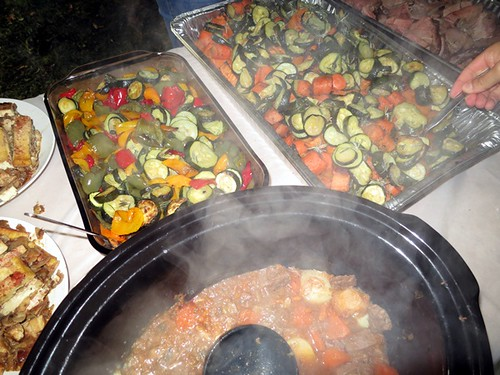 Roasted veggies, stew