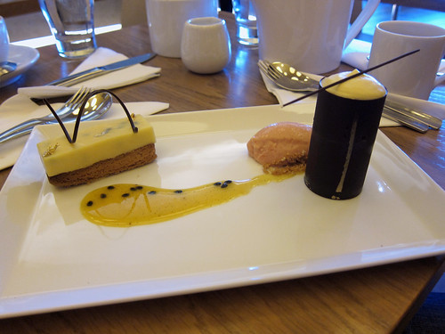 Passionfruit Tart and Mango Casket with Passionfruit Sauce and Guava Sorbet