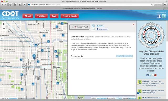 CDOT bike sharing station suggestion website