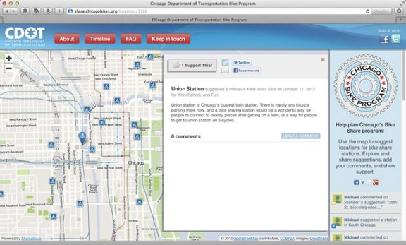CDOT bike sharing station suggestion website