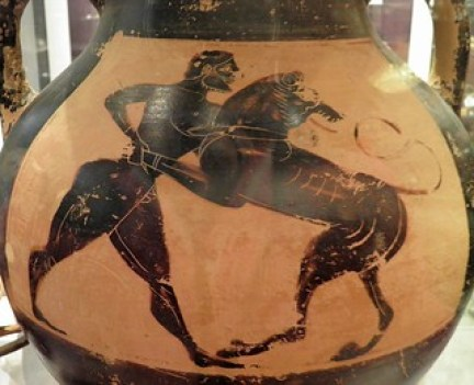 Cats in Ancient Greece Athenian black-figure amphora, 6th century BC, Heracles wrestling with the Nemean lion, Ashmolean Museum