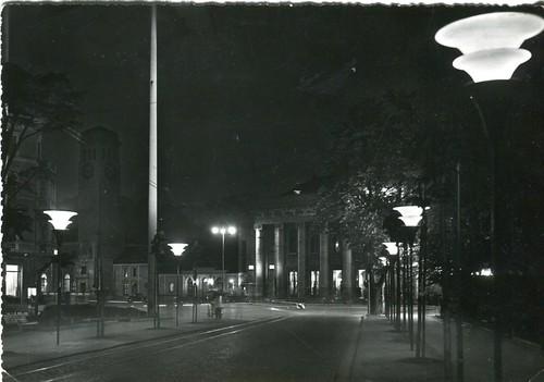 postcard - bolzano - notturno - viale stazione - 1956