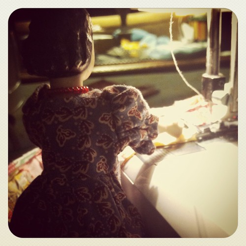 In the sewing room with Hitty