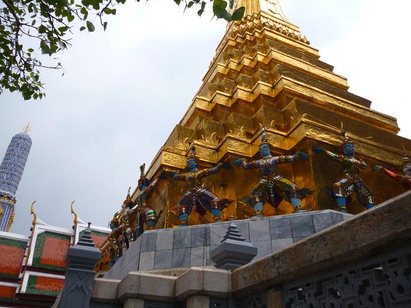 Many green guardians at Bangkok's Grand Palace