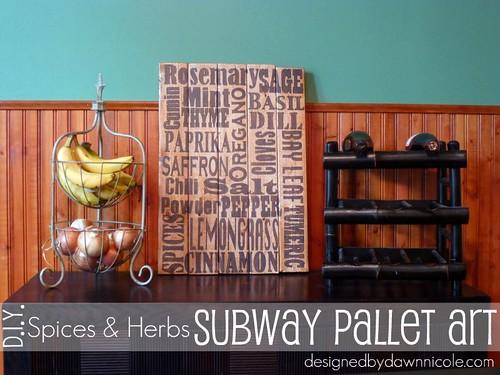 DIY Spices & Herbs Subway Pallet Art